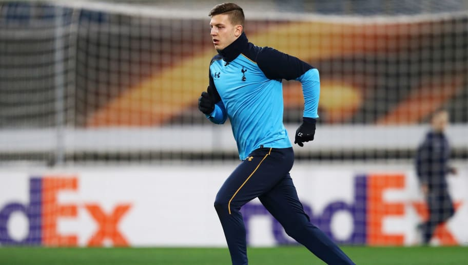 GENT, BELGIUM - FEBRUARY 15:  Kevin Wimmer of Tottenham Hotspur in action during the Tottenham Hotspur Training Session / Press Conference held at the Ghelamco Arena stadium on February 15, 2017 in Gent, Belgium. KAA Gent will play Tottenham Hotspur in their Europa League match on the February 16, 2017.  (Photo by Dean Mouhtaropoulos/Getty Images)