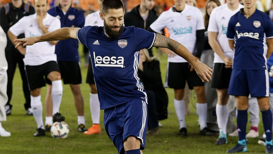 HOUSTON, TX - DECEMBER 16: Seattle Sounders forward Clint Dempsey strikes the ball with his back foot during the Skillz Challenge during the Kick In For Houston Charity Soccer Match at BBVA Compass Stadium on December 16, 2017 in Houston, Texas. (Photo by Bob Levey/Getty Images for FOX Sports )