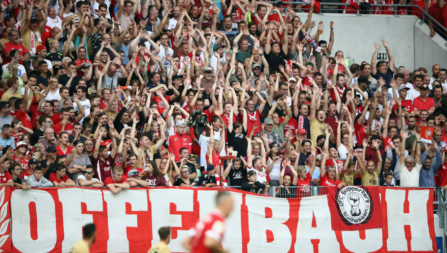 OFFENBACH, GERMANY - AUGUST 30: Fans of Offenbach support their team during a friendly match between Kickers Offenbach and FC Bayern Muenchen at Sparda-Bank-Hessen-Stadion on August 30, 2017 in Offenbach, Germany.  (Photo by Alex Grimm/Bongarts/Getty Images)