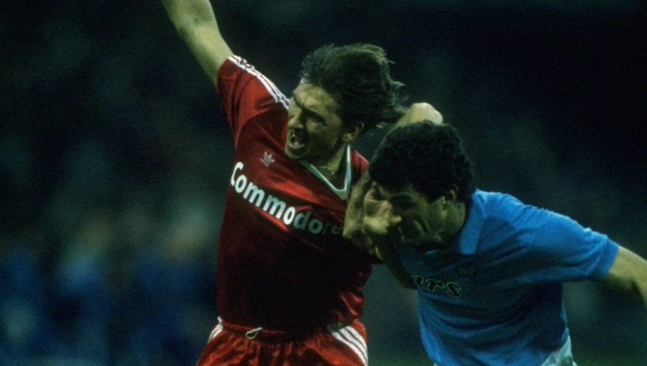 Klaus Augenthaler of Bayern Munich and Ciro Ferrara of Napoli struggle for possession of the ball