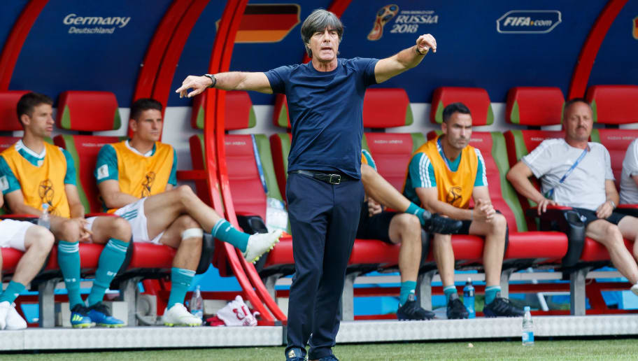 KAZAN, RUSSIA - JUNE 27: Head coach Joachim Loew of Germany gestures during the 2018 FIFA World Cup Russia group F match between Korea Republic and Germany at Kazan Arena on June 27, 2018 in Kazan, Russia. (Photo by TF-Images/Getty Images)