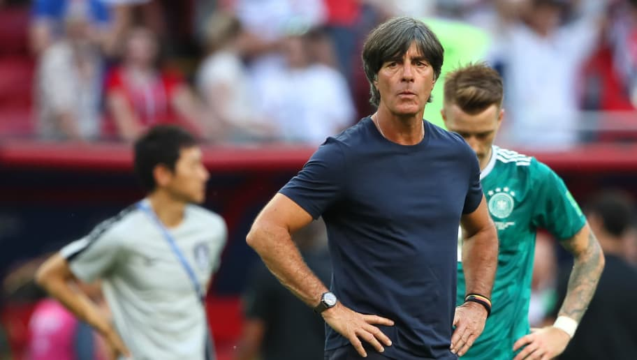 KAZAN, RUSSIA - JUNE 27:    Joachim Low head coach / manager of Germany looks dejected at the end of the 2018 FIFA World Cup Russia group F match between Korea Republic and Germany at Kazan Arena on June 27, 2018 in Kazan, Russia. (Photo by Matthew Ashton - AMA/Getty Images)