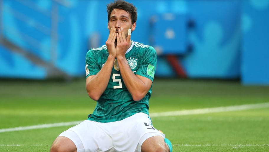 KAZAN, RUSSIA - JUNE 27:     Mats Hummels of Germany looks dejected during the 2018 FIFA World Cup Russia group F match between Korea Republic and Germany at Kazan Arena on June 27, 2018 in Kazan, Russia. (Photo by Matthew Ashton - AMA/Getty Images)