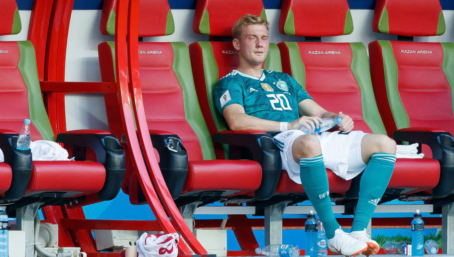KAZAN, RUSSIA - JUNE 27: Julian Brandt of Germany looks dejected after the 2018 FIFA World Cup Russia group F match between Korea Republic and Germany at Kazan Arena on June 27, 2018 in Kazan, Russia. (Photo by TF-Images/Getty Images)