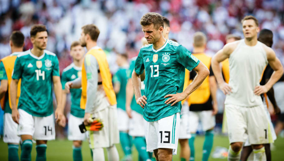 KAZAN, RUSSIA - JUNE 27: Niklas Suele, Leon Goretzka and Manuel Neuer of Germany are disappointed following the 2018 FIFA World Cup Russia group F match between Korea Republic and Germany at Kazan Arena on June 27, 2018 in Kazan, Russia. (Photo by Reinaldo Coddou H./Getty Images)