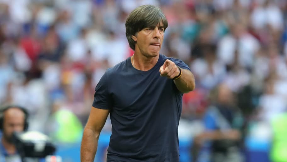 KAZAN, RUSSIA - JUNE 27:  Joachim Loew, head coach of Germany reacts during the 2018 FIFA World Cup Russia group F match between Korea Republic and Germany at Kazan Arena on June 27, 2018 in Kazan, Russia.  (Photo by Alexander Hassenstein/Getty Images, )