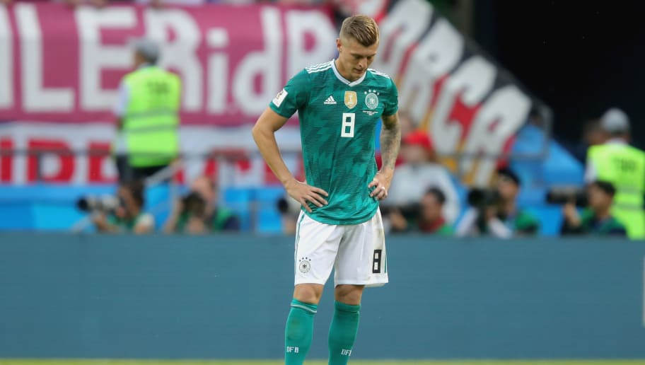 KAZAN, RUSSIA - JUNE 27:  Toni Kroos of Germany looks dejected following his sides defeat in the 2018 FIFA World Cup Russia group F match between  Korea Republic and Germany at Kazan Arena on June 27, 2018 in Kazan, Russia.  (Photo by Alexander Hassenstein/Getty Images, )