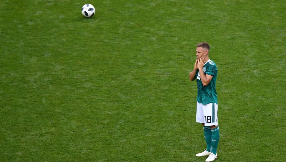 KAZAN, RUSSIA - JUNE 27:  Joshua Kimmich of Germany looks dejected following his sides defeat inthe 2018 FIFA World Cup Russia group F match between Korea Republic and Germany at Kazan Arena on June 27, 2018 in Kazan, Russia.  (Photo by Shaun Botterill/Getty Images)