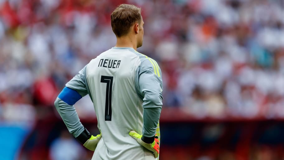 KAZAN, RUSSIA - JUNE 27: Goalkeeper Manuel Neuer of Germany looks on during the 2018 FIFA World Cup Russia group F match between Korea Republic and Germany at Kazan Arena on June 27, 2018 in Kazan, Russia. (Photo by TF-Images/Getty Images)