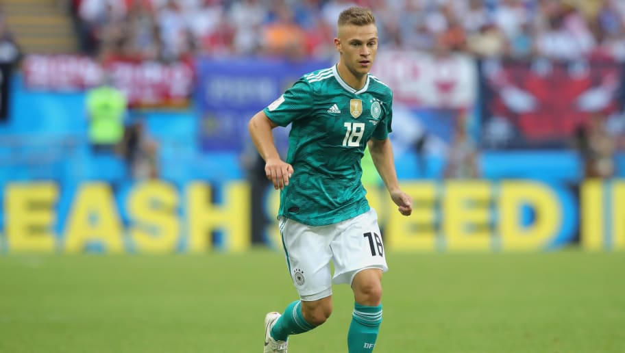 KAZAN, RUSSIA - JUNE 27:  Joshua Kimmich of Germany runs with the ball during the 2018 FIFA World Cup Russia group F match between Korea Republic and Germany at Kazan Arena on June 27, 2018 in Kazan, Russia.  (Photo by Alexander Hassenstein/Getty Images, )
