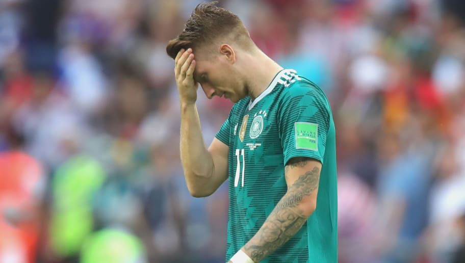 KAZAN, RUSSIA - JUNE 27:  Marco Reus of Germany looks dejected following his sides defeat in the 2018 FIFA World Cup Russia group F match between  Korea Republic and Germany at Kazan Arena on June 27, 2018 in Kazan, Russia.  (Photo by Alexander Hassenstein/Getty Images, )