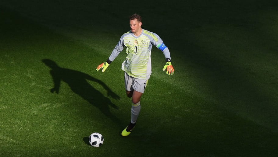 KAZAN, RUSSIA - JUNE 27:  Manuel Neuer of Germany controls the ball during the 2018 FIFA World Cup Russia group F match between Korea Republic and Germany at Kazan Arena on June 27, 2018 in Kazan, Russia.  (Photo by Shaun Botterill/Getty Images)