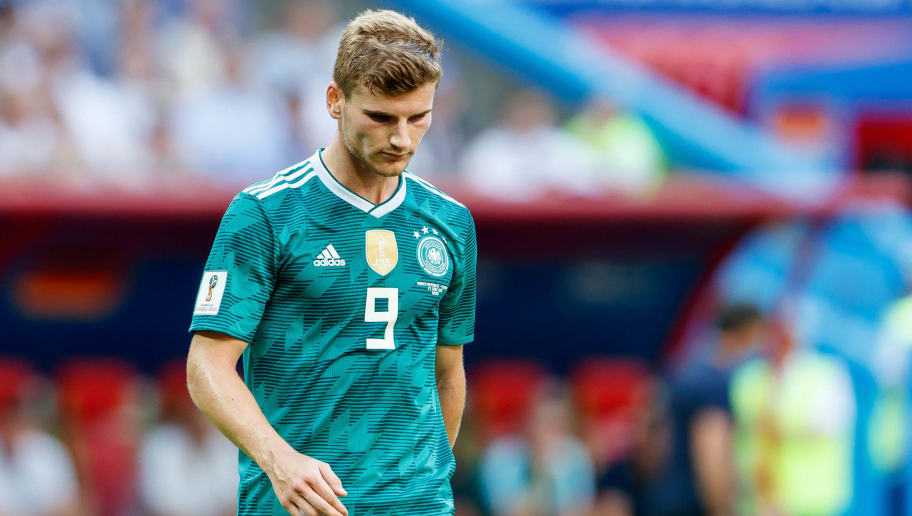 KAZAN, RUSSIA - JUNE 27: Timo Werner of Germany looks on during the 2018 FIFA World Cup Russia group F match between Korea Republic and Germany at Kazan Arena on June 27, 2018 in Kazan, Russia. (Photo by TF-Images/Getty Images)