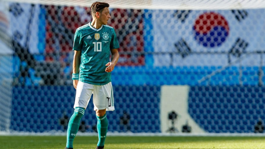 KAZAN, RUSSIA - JUNE 27: Mesut Oezil of Germany looks on during the 2018 FIFA World Cup Russia group F match between Korea Republic and Germany at Kazan Arena on June 27, 2018 in Kazan, Russia. (Photo by TF-Images/Getty Images)