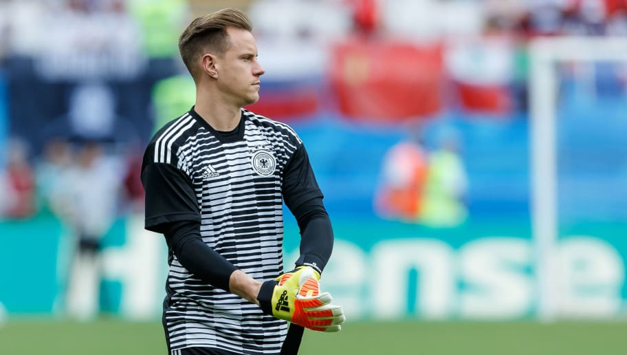 KAZAN, RUSSIA - JUNE 27: Goalkeeper Marc-Andre ter Stegen of Germany looks on prior to the 2018 FIFA World Cup Russia group F match between Korea Republic and Germany at Kazan Arena on June 27, 2018 in Kazan, Russia. (Photo by TF-Images/Getty Images)
