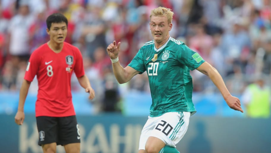KAZAN, RUSSIA - JUNE 27:  Julian Brandt of Germany runs with the ball during the 2018 FIFA World Cup Russia group F match between Korea Republic and Germany at Kazan Arena on June 27, 2018 in Kazan, Russia.  (Photo by Alexander Hassenstein/Getty Images, )