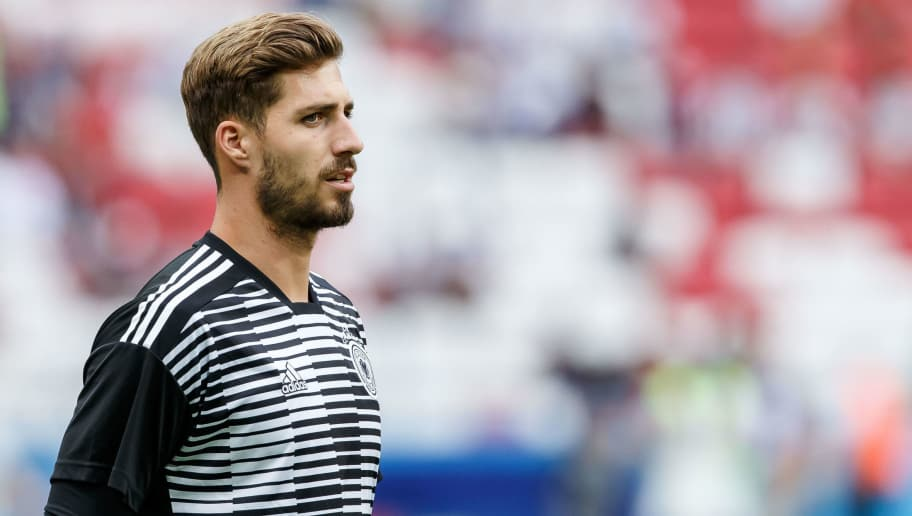 KAZAN, RUSSIA - JUNE 27: Goalkeeper Kevin Trapp of Germany looks on prior to the 2018 FIFA World Cup Russia group F match between Korea Republic and Germany at Kazan Arena on June 27, 2018 in Kazan, Russia. (Photo by TF-Images/Getty Images)