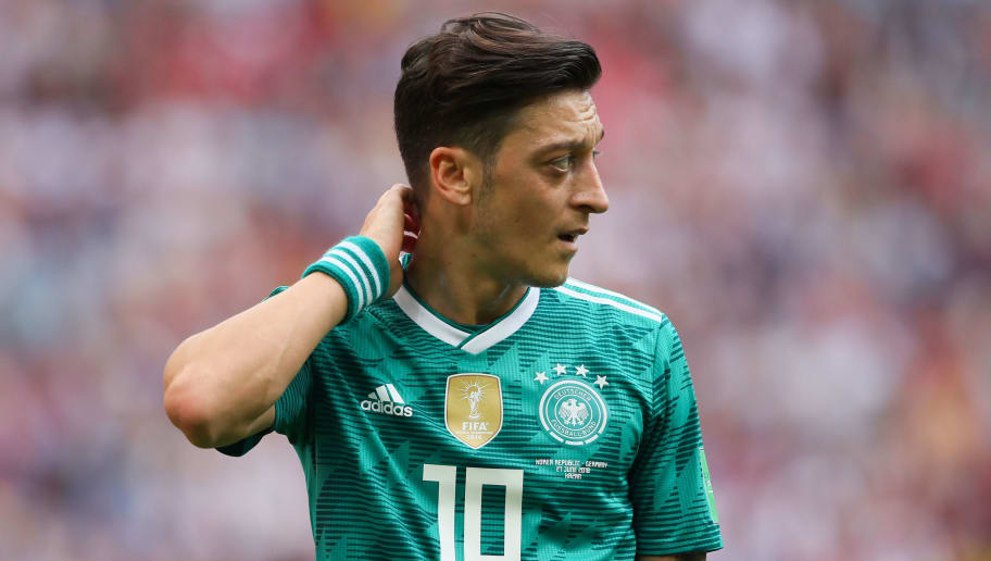 KAZAN, RUSSIA - JUNE 27:  Mesut Ozil of Germany in action during the 2018 FIFA World Cup Russia group F match between Korea Republic and Germany at Kazan Arena on June 27, 2018 in Kazan, Russia. (Photo by Matthew Ashton - AMA/Getty Images)