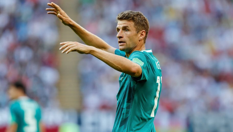 KAZAN, RUSSIA - JUNE 27: Thomas Mueller of Germany gestures during the 2018 FIFA World Cup Russia group F match between Korea Republic and Germany at Kazan Arena on June 27, 2018 in Kazan, Russia. (Photo by TF-Images/Getty Images)