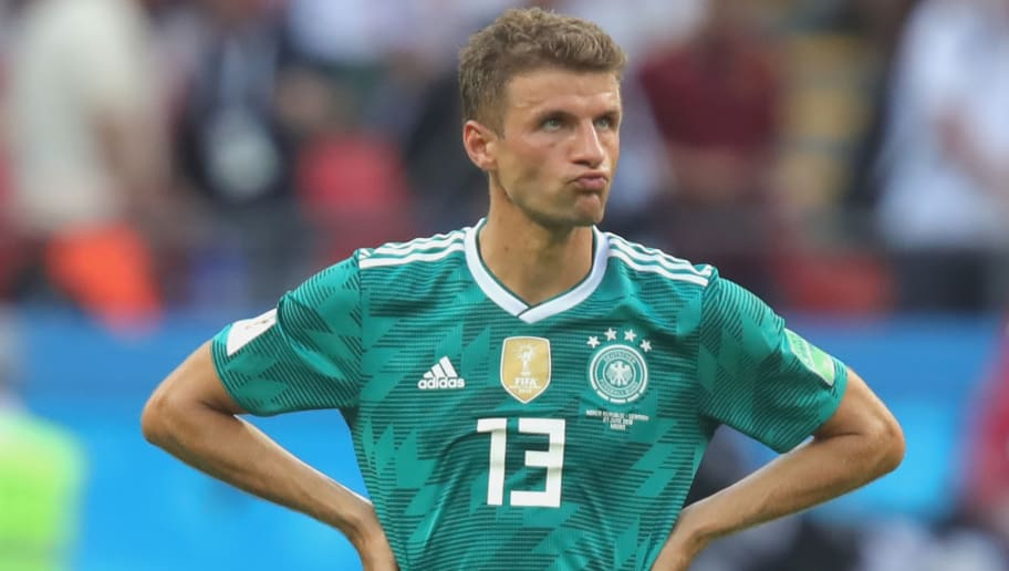 KAZAN, RUSSIA - JUNE 27:  Thomas Mueller of Germany looks dejected following his sides defeat in the 2018 FIFA World Cup Russia group F match between  Korea Republic and Germany at Kazan Arena on June 27, 2018 in Kazan, Russia.  (Photo by Alexander Hassenstein/Getty Images, )