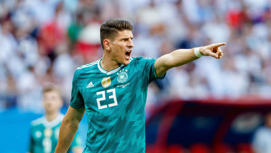 KAZAN, RUSSIA - JUNE 27: Mario Gomez of Germany gestures during the 2018 FIFA World Cup Russia group F match between Korea Republic and Germany at Kazan Arena on June 27, 2018 in Kazan, Russia. (Photo by TF-Images/Getty Images)
