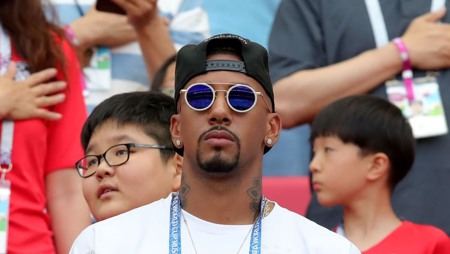 KAZAN, RUSSIA - JUNE 27:  Jerome Boateng of Germany looks on from the stands, serving a match suspension following a red card in a previous game prior to  the 2018 FIFA World Cup Russia group F match between Korea Republic and Germany at Kazan Arena on June 27, 2018 in Kazan, Russia.  (Photo by Alexander Hassenstein/Getty Images, )