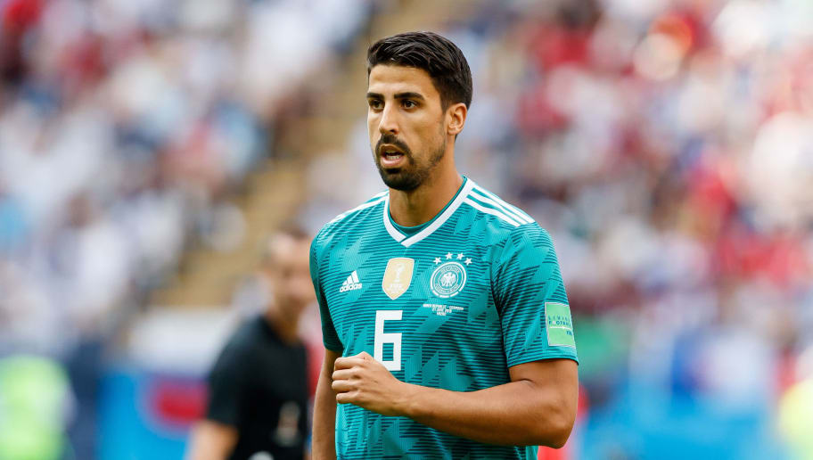 KAZAN, RUSSIA - JUNE 27: Sami Khedira of Germany looks on during the 2018 FIFA World Cup Russia group F match between Korea Republic and Germany at Kazan Arena on June 27, 2018 in Kazan, Russia. (Photo by TF-Images/Getty Images)
