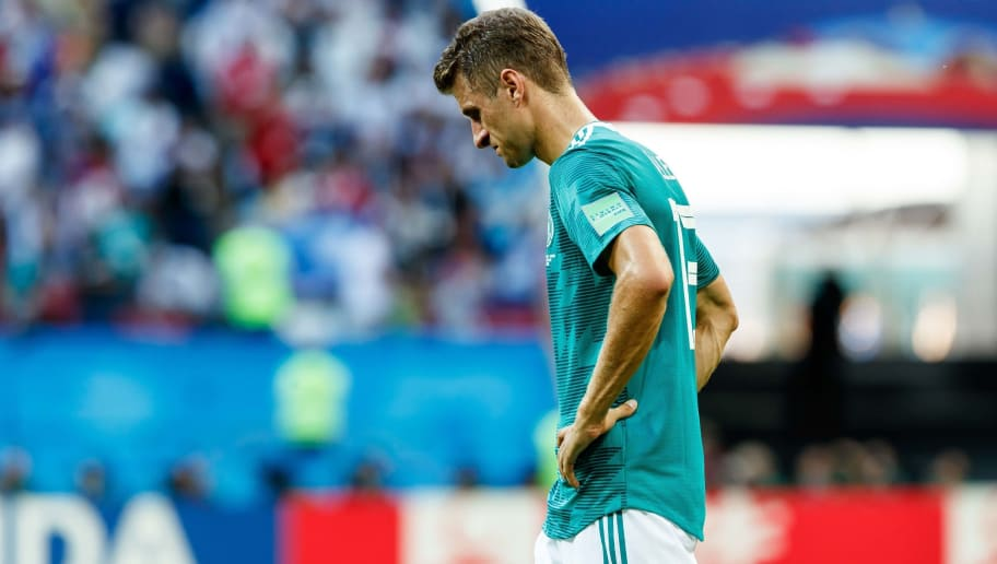 KAZAN, RUSSIA - JUNE 27: Thomas Mueller of Germany looks dejected after the 2018 FIFA World Cup Russia group F match between Korea Republic and Germany at Kazan Arena on June 27, 2018 in Kazan, Russia. (Photo by TF-Images/Getty Images)