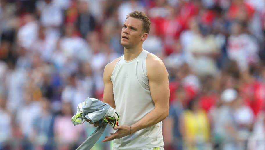 KAZAN, RUSSIA - JUNE 27:  Manuel Neuer of Germany looks dejected following his sides defeat in the 2018 FIFA World Cup Russia group F match between  Korea Republic and Germany at Kazan Arena on June 27, 2018 in Kazan, Russia.  (Photo by Alexander Hassenstein/Getty Images, )