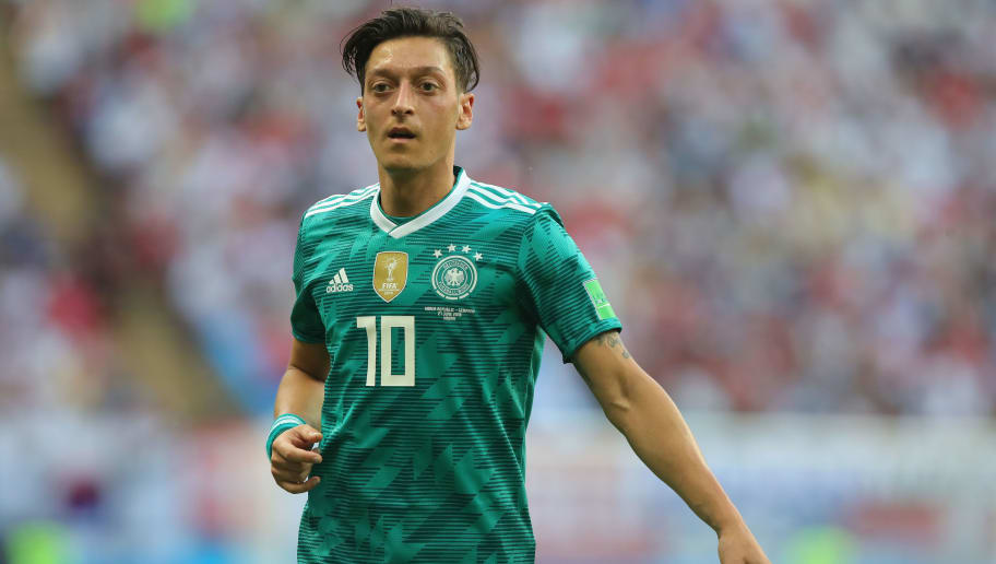 KAZAN, RUSSIA - JUNE 27:  Mesut Oezil of Germany reacts during the 2018 FIFA World Cup Russia group F match between Korea Republic and Germany at Kazan Arena on June 27, 2018 in Kazan, Russia.  (Photo by Alexander Hassenstein/Getty Images, )