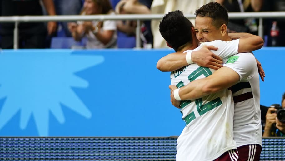 ROSTOV-ON-DON, RUSSIA - JUNE 23: Javier Hernandez of Mexico celebrates with teammate Hirving Lozano after scoring the second goal of his team during the 2018 FIFA World Cup Russia group F match between Korea Republic and Mexico at Rostov Arena on June 23, 2018 in Rostov-on-Don, Russia. (Photo by Carlos Cuin/Jam Media/Getty Images)
