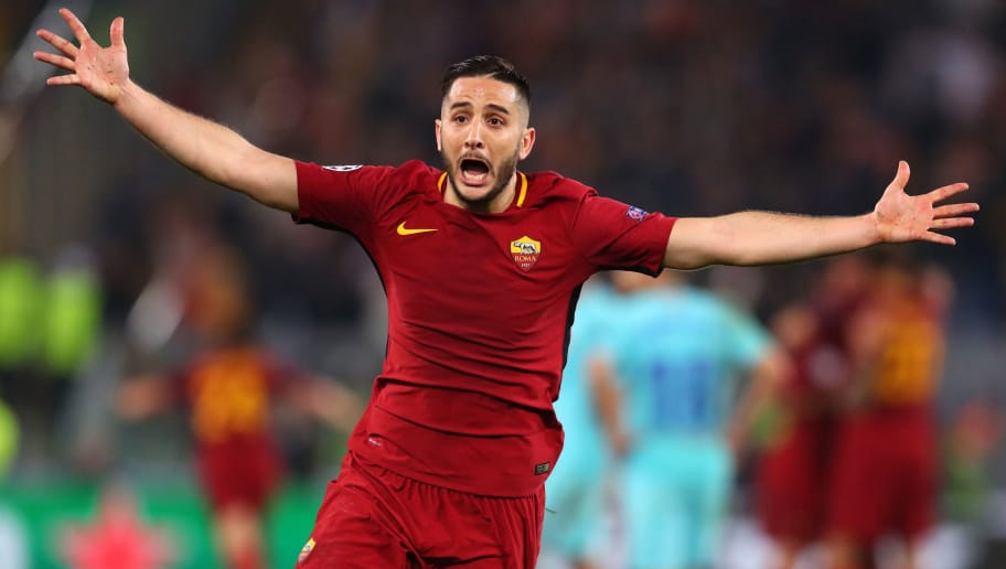 ROME, ITALY - APRIL 10: Kostas Manolas of AS Roma celebrates the win after the UEFA Champions League Quarter Final Leg Two between AS Roma and FC Barcelona  at Stadio Olimpico on April 10, 2018 in Rome, Italy. (Photo by Catherine Ivill/Getty Images)