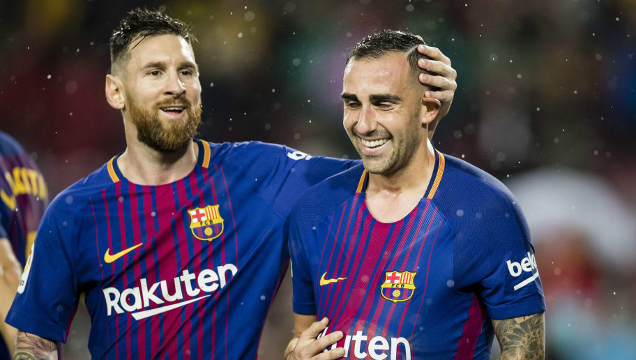 BARCELONA, SPAIN - NOVEMBER 04: Francisco Alcacer Garcia, Paco Alcacer, of FC Barcelona (R) celebrates after scoring his goal with Lionel Andres Messi of FC Barcelona (L) during the La Liga 2017-18 match between FC Barcelona and Sevilla FC at Camp Nou on November 04 2017 in Barcelona, Spain. (Photo by Power Sport Images/Getty Images)
