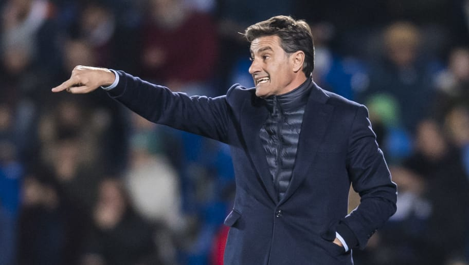 GETAFE, SPAIN - JANUARY 12: Coach Jose Miguel Gonzalez Martin del Campo, Michel, of Malaga CF gestures during the La Liga 2017-18 match between Getafe CF and Malaga CF at Coliseum Alfonso Perez on 12 January 2018 in Getafe, Spain. (Photo by Power Sport Images/Getty Images)