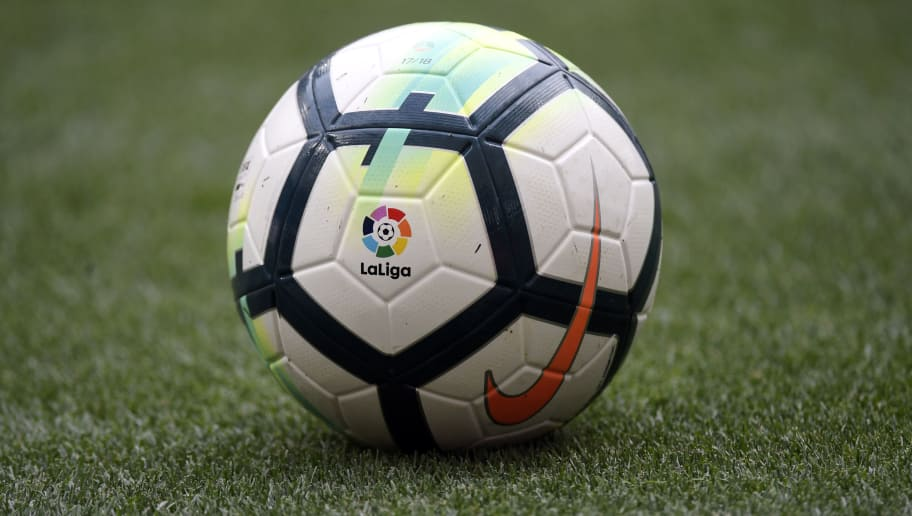 'La Liga' logo is seen on the ball of the Spanish league football match between Club Atletico de Madrid and Levante UD at the Wanda Metropolitano stadium in Madrid on April 15, 2018. / AFP PHOTO / GABRIEL BOUYS        (Photo credit should read GABRIEL BOUYS/AFP/Getty Images)