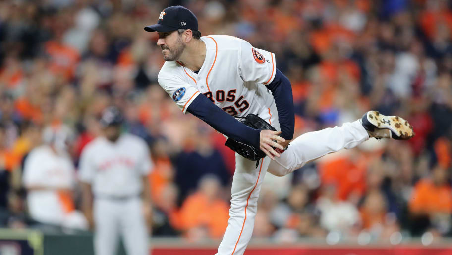 HOUSTON, TX - OCTOBER 18:  Justin Verlander #35 of the Houston Astros pitches in the first inning against the Boston Red Sox during Game Five of the American League Championship Series at Minute Maid Park on October 18, 2018 in Houston, Texas.  (Photo by Elsa/Getty Images)
