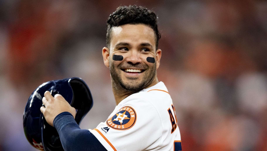 HOUSTON, TX - OCTOBER 16: Jose Altuve #27 of the Houston Astros reacts during the sixth inning of game three of the American League Championship Series against the Boston Red Sox on October 16, 2018 at Minute Maid Park in Houston, Texas. (Photo by Billie Weiss/Boston Red Sox/Getty Images)
