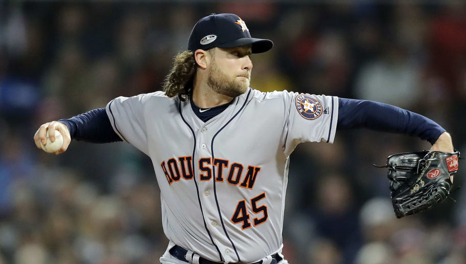 BOSTON, MA - OCTOBER 14:  Gerrit Cole #45 of the Houston Astros delivers the pitch during the first inning against the Boston Red Sox in Game Two of the American League Championship Series at Fenway Park on October 14, 2018 in Boston, Massachusetts.  (Photo by Elsa/Getty Images)
