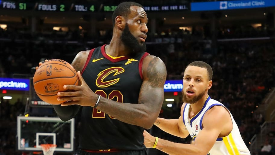 CLEVELAND, OH - JUNE 08:  LeBron James #23 of the Cleveland Cavaliers defended by Stephen Curry #30 of the Golden State Warriors during Game Four of the 2018 NBA Finals at Quicken Loans Arena on June 8, 2018 in Cleveland, Ohio. NOTE TO USER: User expressly acknowledges and agrees that, by downloading and or using this photograph, User is consenting to the terms and conditions of the Getty Images License Agreement.  (Photo by Gregory Shamus/Getty Images)