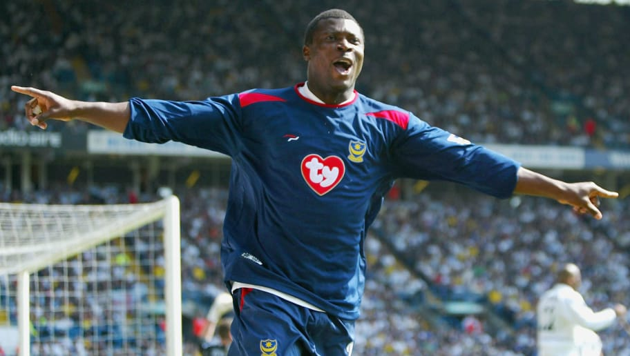 LEEDS, ENGLAND - APRIL 25: Aiyegbeni Yakubu of Portsmouth celebrates scoring the first goal during the FA Barclaycard Premiership match between Leeds United and Portsmouth at Elland Road on April 25, 2005 in Leeds, England.  (Photo by Michael Steele/Getty Images)