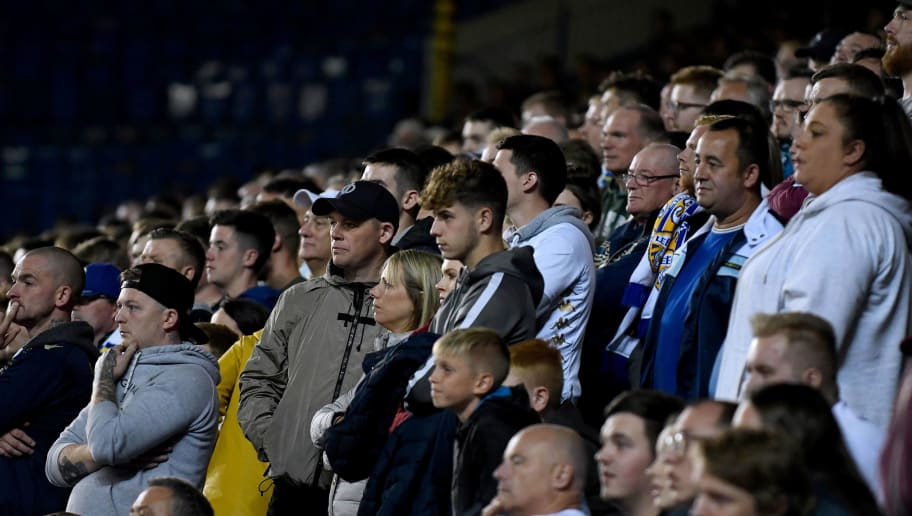 LEEDS, ENGLAND - AUGUST 28: Leeds United fans look on during the Carabao Cup Second Round match between Leeds United and Preston North End at Elland Road on August 28, 2018 in Leeds, England. (Photo by George Wood/Getty Images)