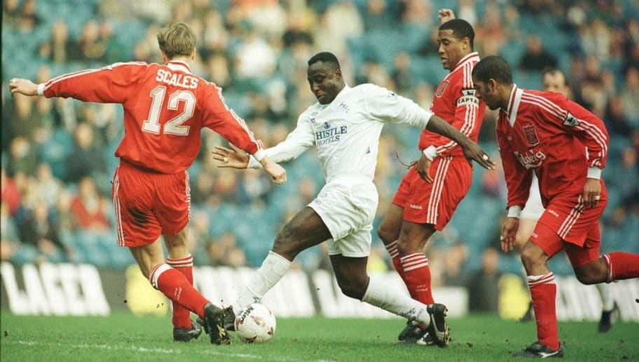 10 Mar 1996:  Tony Yeboah of Leeds takes on the Liverpool defence during the Leeds United v Liverpool FA Cup Quarter Final match at Elland Road, Leeds. Mandatory Credit: Clive Brunskill/ALLSPORT