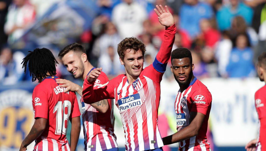 MADRID, SPAIN - NOVEMBER 3: Antoine Griezmann of Atletico Madrid during the La Liga Santander  match between Leganes v Atletico Madrid at the Estadio Municipal de Butarque on November 3, 2018 in Madrid Spain (Photo by David S. Bustamante/Soccrates/Getty Images)