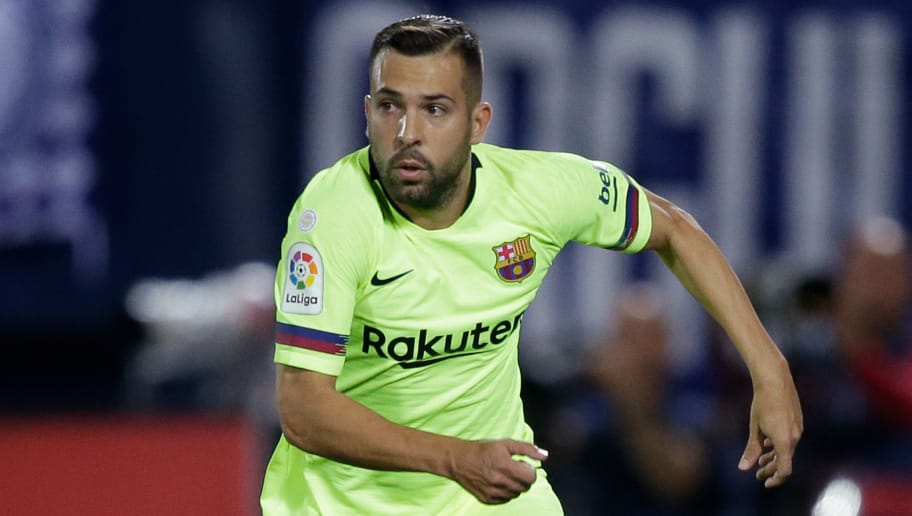 MADRID, SPAIN - SEPTEMBER 26: Jordi Alba of FC Barcelona during the La Liga Santander  match between Leganes v FC Barcelona at the Estadio Municipal de Butarque on September 26, 2018 in Madrid Spain (Photo by Jeroen Meuwsen/Soccrates/Getty Images)