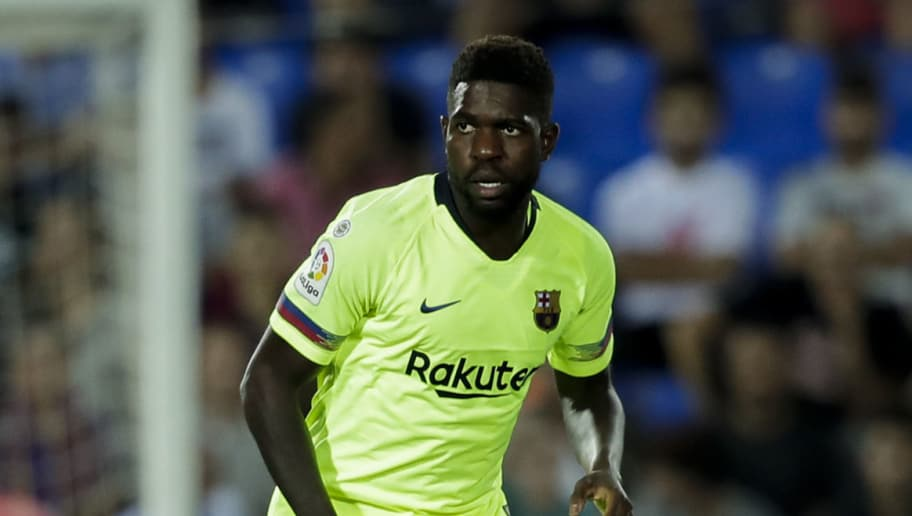 MADRID, SPAIN - SEPTEMBER 26: Samuel Umtiti of FC Barcelona during the La Liga Santander  match between Leganes v FC Barcelona at the Estadio Municipal de Butarque on September 26, 2018 in Madrid Spain (Photo by David S. Bustamante/Soccrates /Getty Images)