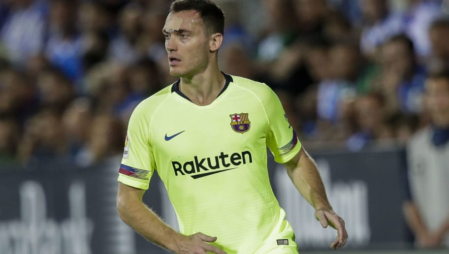MADRID, SPAIN - SEPTEMBER 26: Thomas Vermaelen of FC Barcelona during the La Liga Santander  match between Leganes v FC Barcelona at the Estadio Municipal de Butarque on September 26, 2018 in Madrid Spain (Photo by David S. Bustamante/Soccrates /Getty Images)