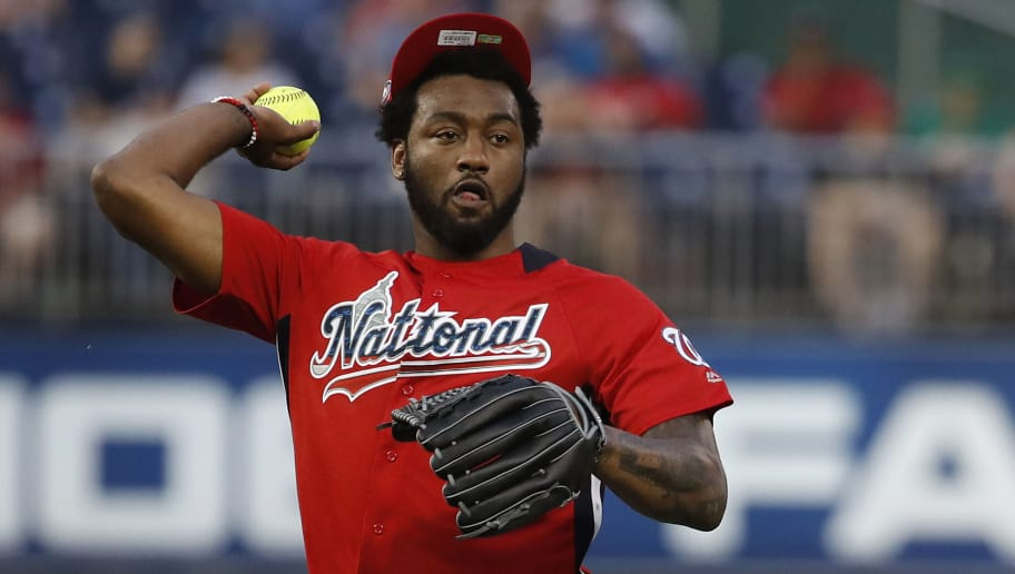 WASHINGTON, DC - JULY 15: John Wall throws the ball during the All-Star and Legends Celebrity Softball Game at Nationals Park on July 15, 2018 in Washington, DC. (Photo by Patrick McDermott/Getty Images)