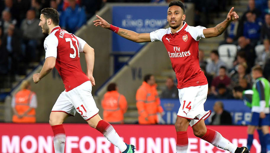 LEICESTER, ENGLAND - MAY 09:  Pierre-Emerick Aubameyang of Arsenal celebrates after scoring his sides first goal during the Premier League match between Leicester City and Arsenal at The King Power Stadium on May 9, 2018 in Leicester, England.  (Photo by Shaun Botterill/Getty Images)
