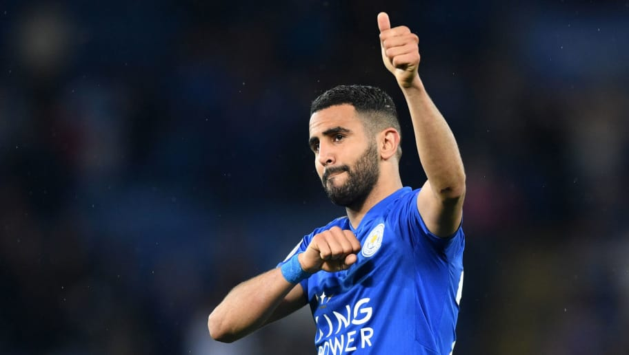LEICESTER, ENGLAND - MAY 09:  Riyad Mahrez of Leicester City shows appreciation to the fans after the Premier League match between Leicester City and Arsenal at The King Power Stadium on May 9, 2018 in Leicester, England.  (Photo by Michael Regan/Getty Images)