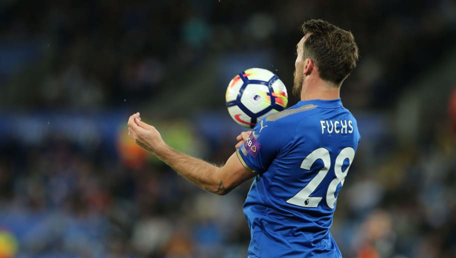 LEICESTER, ENGLAND - MAY 09: Christian Fuchs of Leicester City during the Premier League match between Leicester City and Arsenal at The King Power Stadium on May 9, 2018 in Leicester, England. (Photo by James Williamson - AMA/Getty Images)